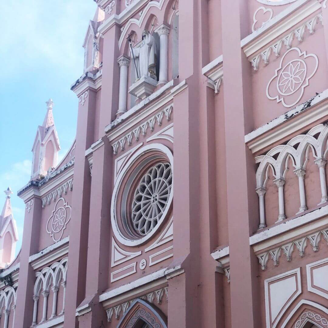 pink front of the pink cathedral in da nang vietnam