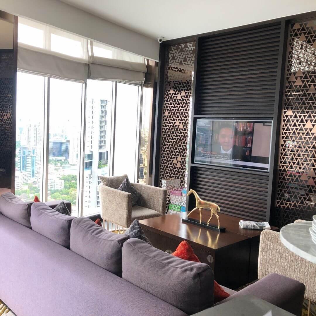 cosy seating area at the anantara sathorn hotel