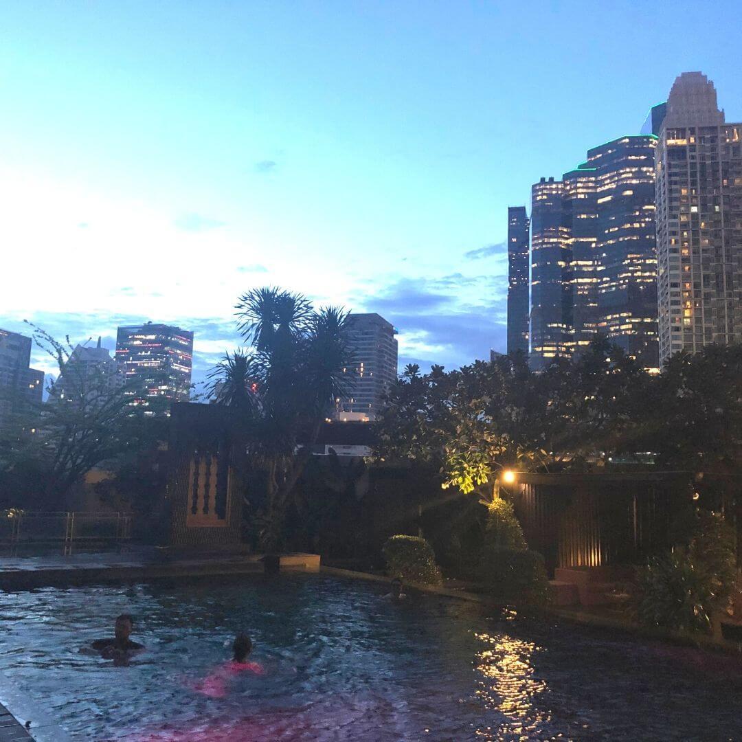 the pool at the anantara sathorn at night