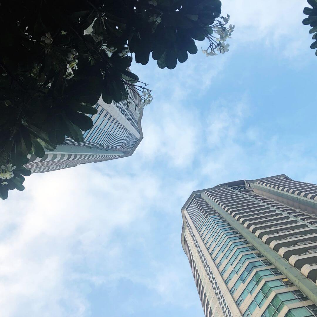 view of the anantara towers from below
