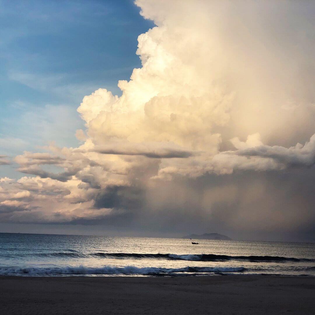 Beach Under Cloudy Skies In Vietnam