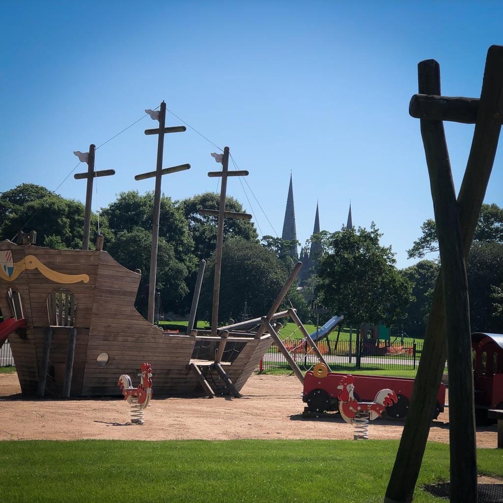 Beacon Park Playground In Lichfield. Huge Play Pirate Ship