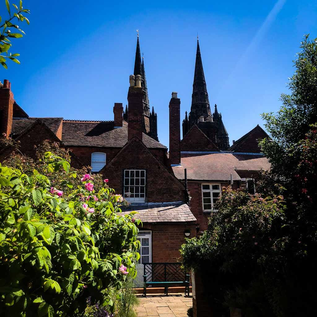 Lichfield Cathedrals Three Spires From Pretty Garden