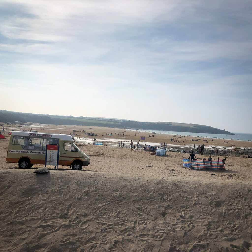 ice cream van on sandy beach