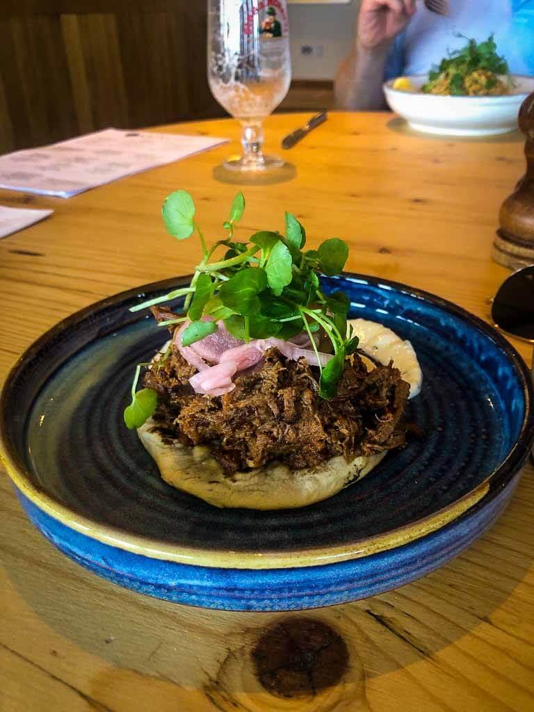 Plate Of Lamb Kofta On Flatbread