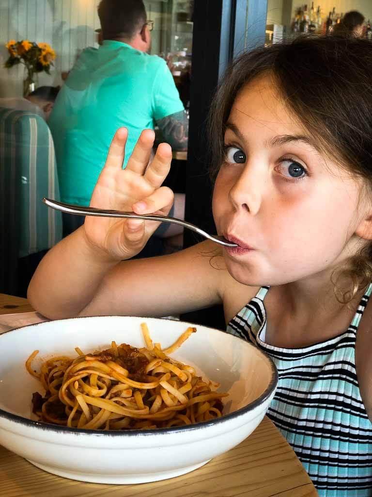 Piper Quinn Eating A Bowl Of Ragu And Spaghetti