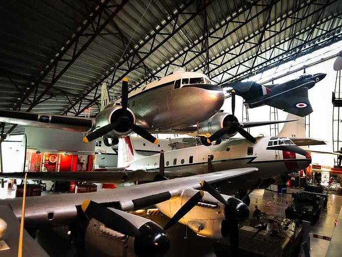 planes hanging from the ceiling at RAF cosford