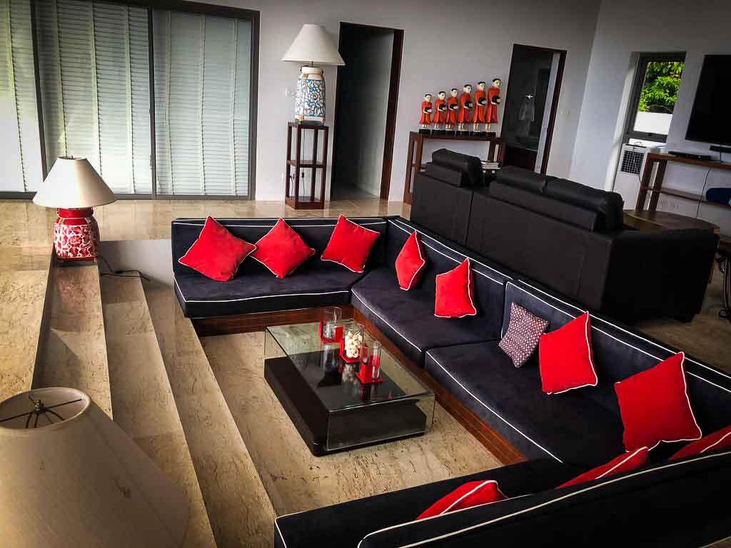 interior of a glamorous sunken sofa at a holiday villa in Thailand