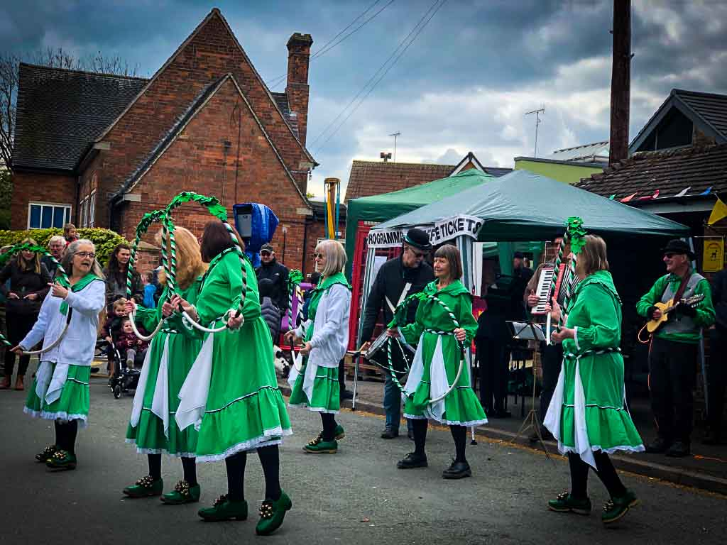 morris dancers at a staffordshire village fete