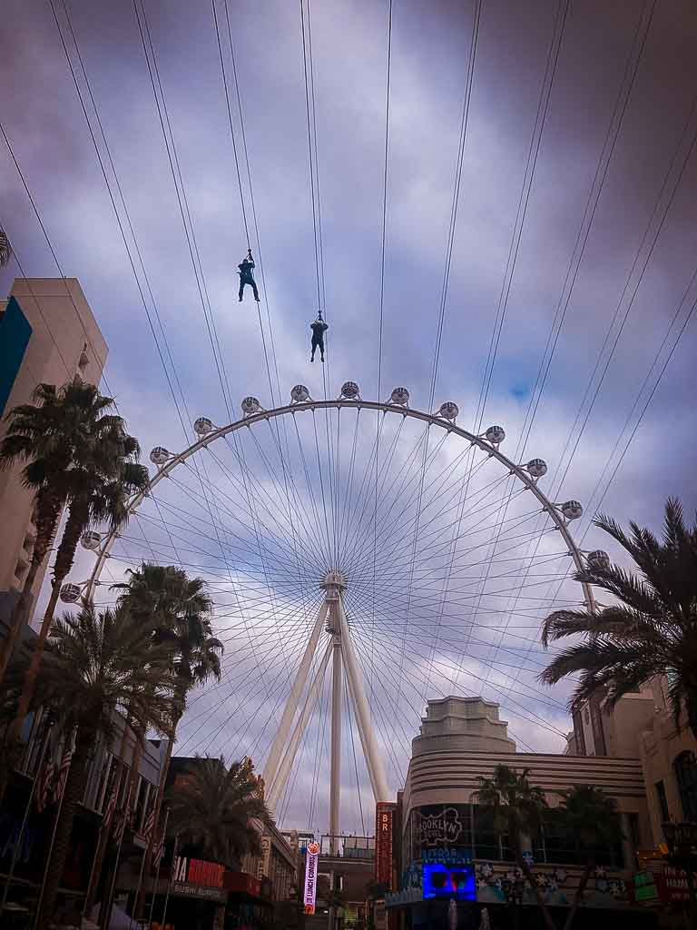 high roller big wheel and zip wire on the las vegas strip