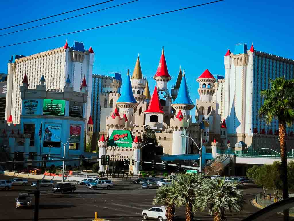 Excalibur Hotel in Las Vegas with its white turrets and colourful cone shaped roofs