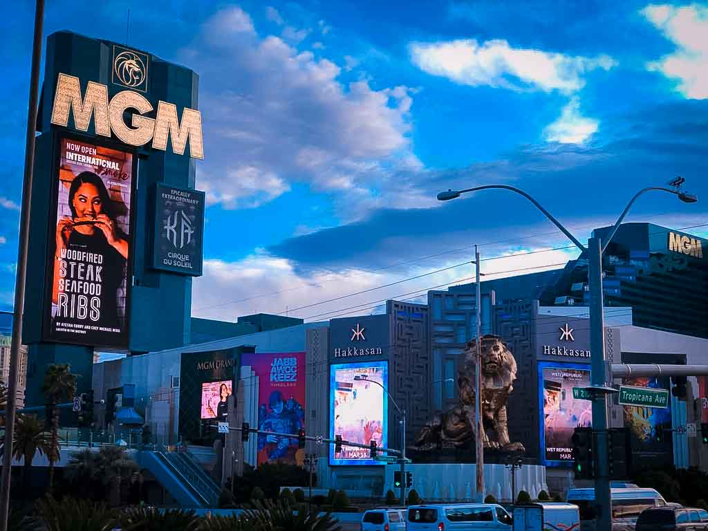 huge neon sign for the MGM hotel in Las Vegas