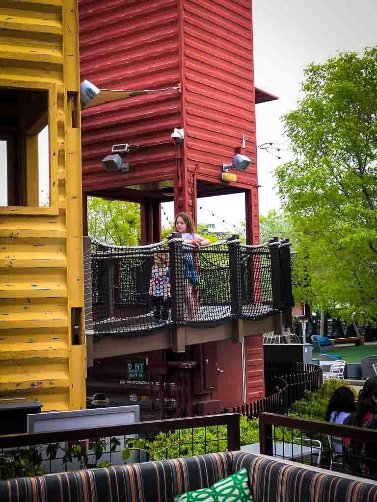 treehouse themed pay area at the container park