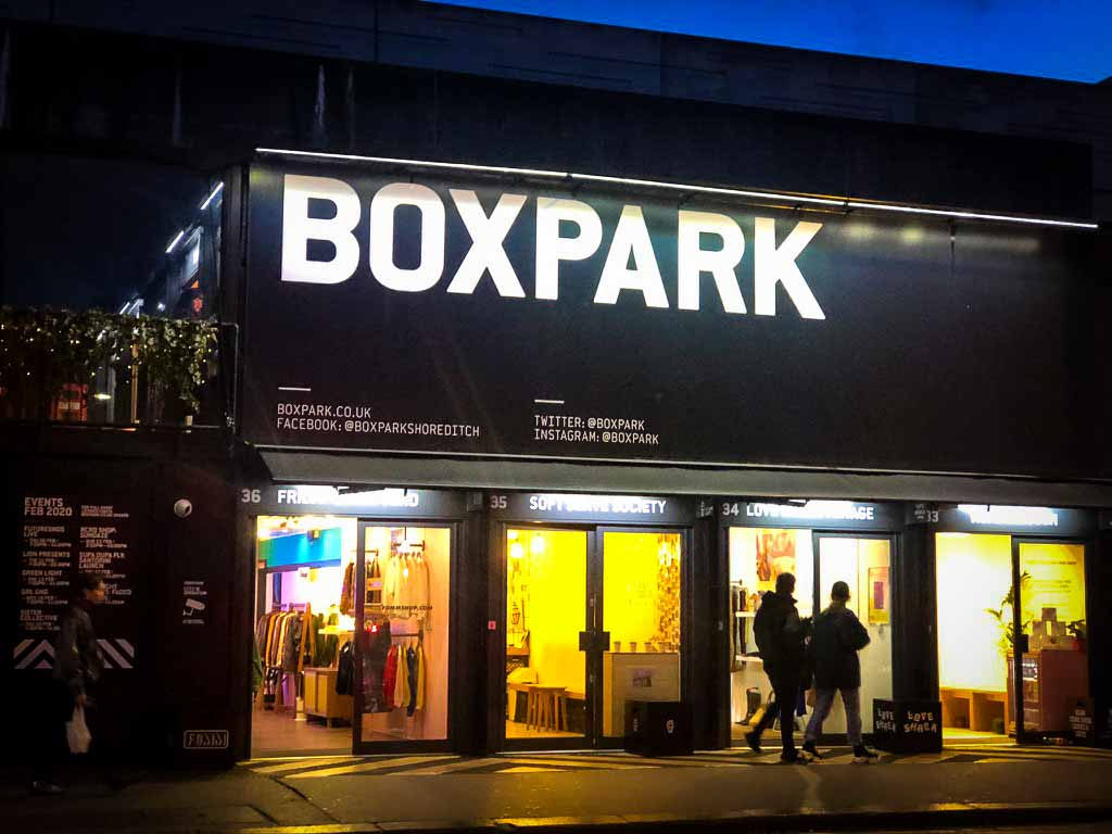 Boxpark container space in Shoreditch, home to many family restaurants in london