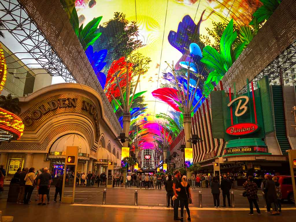 old casino lining the very colourful fremont street