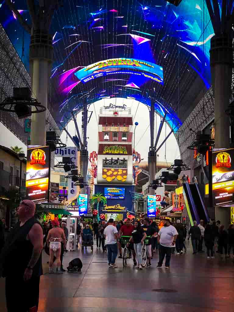 fremont street slotzilla with the light show overhead