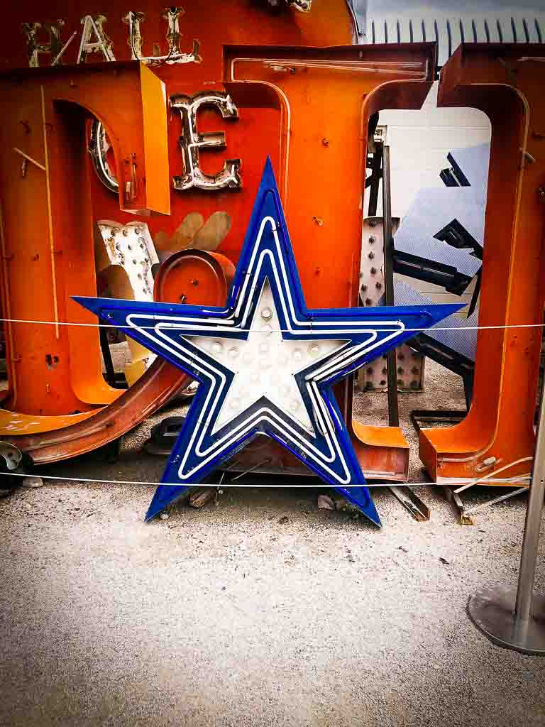 blue star neaon sign at the neon museum in las vegas