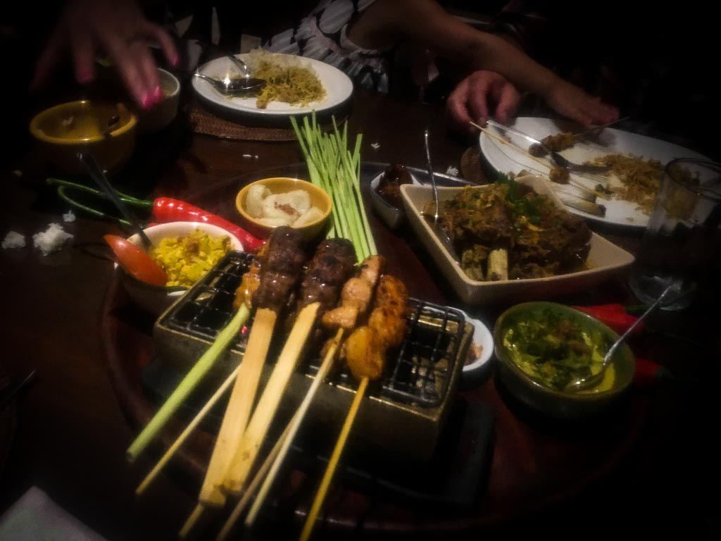 selection of indonesian food at Bumbu Bali restaurant