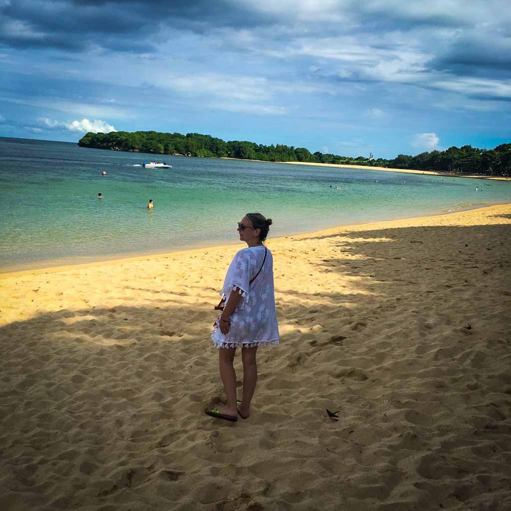 Karen Quinn standing on nusa dua beach