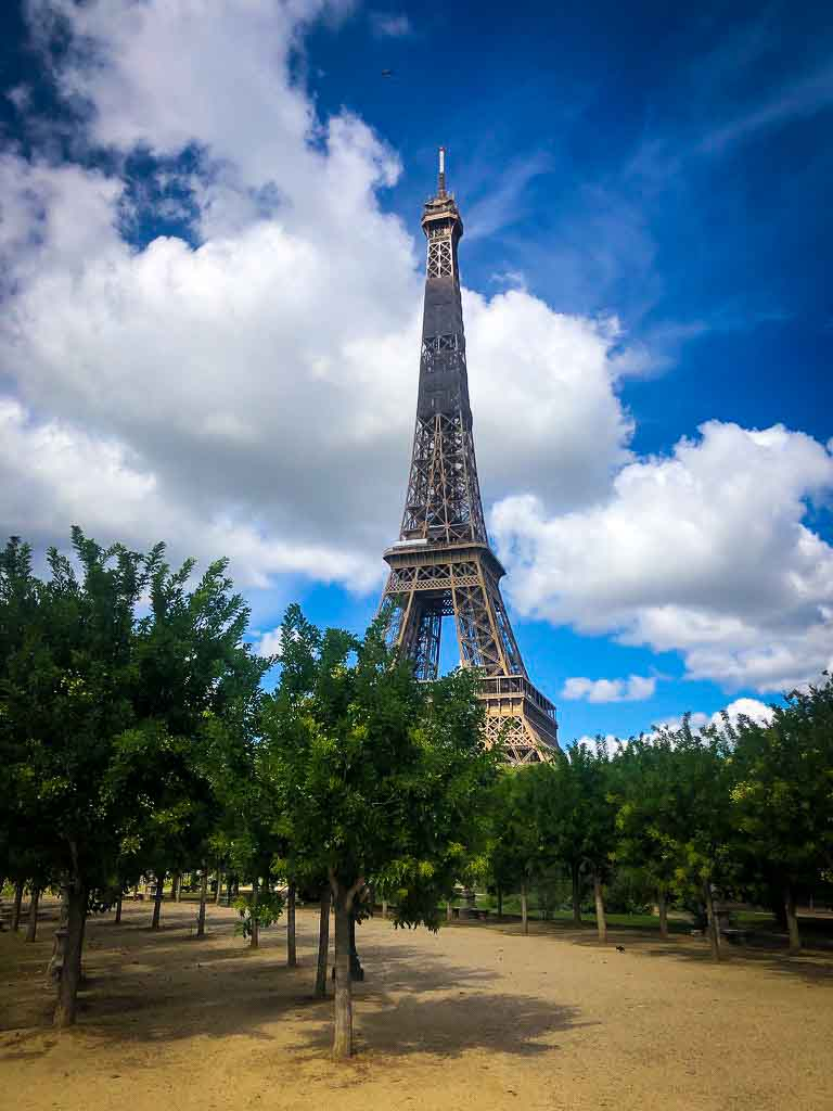 eiffel tower with trees infront