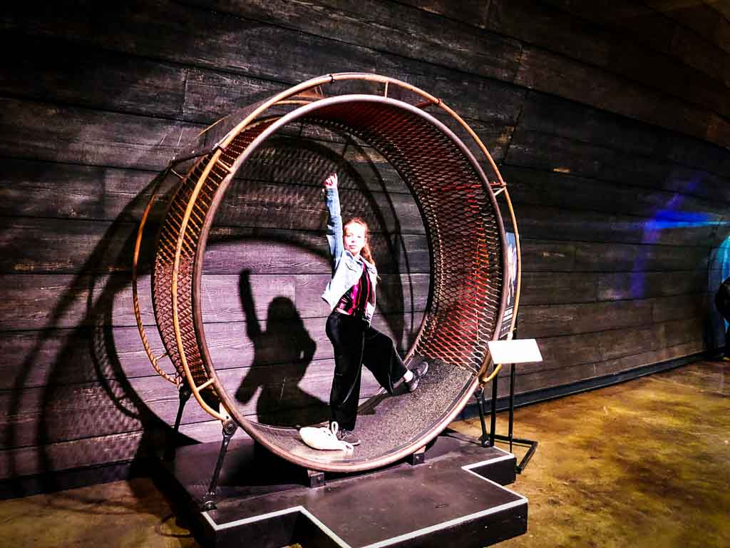 young girl in metal circle from cirque du soleil show