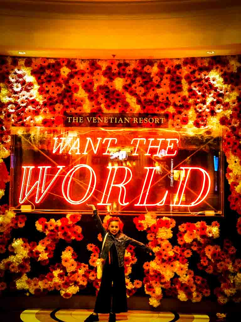 i want the world sign at the venetian hotel